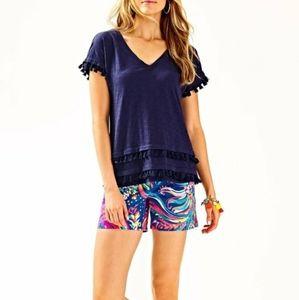 Lilly Pulitzer Navy Tassle T-Shirt XS